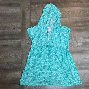 DOTTI Hooded Teal Paisley Swim Cover Up Plus 2X